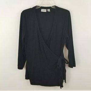 Chicos travelers wrap front tie top shirt size 2